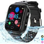 Kinder-Smartwatch Telefon – IP67 wasserdichte Smartwatch Jungen Mädchen mit Touchscreen 5 Spiele Kamera Alarm SOS Anruf – Digital Armbanduhr für 3-13 Jahre Kinder Geburtstagsgeschenk (Schwarz)