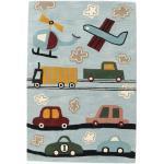 Kinderteppich Cars Handtufted 120X180 Wolle Hellblau/Hellgrau