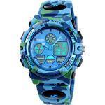 Kinderuhr für Jungen Digital Analog Sportuhr LED 5ATM Wasserdicht Wecker Coole Stoppuhr Elektronische Armbanduhr Blau