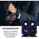 Klarstein Clover Uhrenbeweger | 4 Uhren | 3 Rotationen | 4 Geschwindigkeiten | blaue LED-Beleuchtung | Kunststoffgehäuse