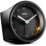 Klassischer analoger Funkwecker von Braun für die Mitteleuropäische Zeitzone (MEZ/GMT+1) mit Schlummerfunktion und Licht, ruhigem Uhrwerk, Crescendo-Alarm in Schwarz, Modell BC07B-DCF