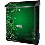 KlebeSpatz® Motiv Wand Briefkasten Premium mit Zeitungsfach Zeitungsrolle für C4 Vintage grün