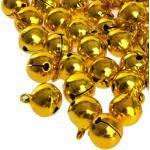 Kleenes Traumhandel 100 Laute goldene Glöckchen Schellen mit Öse - ca. 17x13 mm - Aus Kupfer
