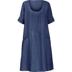 Kleid aus 100% Leinen 3/4-Arm Anna Aura blau