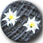 Knopfparadies - 5er Set Bezaubernde, Flache Zweiloch Trachtenknöpfe wie Hirschhorn mit Zwei aufgemalt wirkenden Edelweißblüten/Dunkelbraun, weiß, gelb/Kunststoff/Ø ca. 20mm