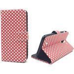 König Design Handyhülle Kompatibel mit Huawei Y625 Handytasche Schutzhülle Tasche Flip Case mit Kreditkartenfächern - Polka Dot Weiße Punkte Rot