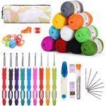 KOHMUI Häkelhaken und Häkelgarn Set, Bunte Ergonomische Soft Gummi HäKelnadeln mit tragbaren Tasche, 10 Farben Acryl Wolle für Häkeln und Kunsthandwerk