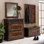 Kolonialstil Garderobe aus Teak Recyclingholz handgearbeitet (5-teilig)