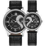 Kolylong Herren Uhr 1 Paar / 2pc Tiannbu Leder-Band Paar Armbanduhren (Silber)