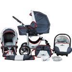 Kombi Kinderwagen Capri, 10 tlg., grey & red stripes grau/rot