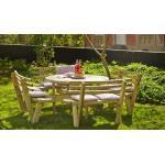Kombi Picknicktisch rund aus druckimprägniertem Kiefer- und Fichtenholz - Set aus Gartentisch und 4 Gartenbänken in Größe 237 x 72 cm