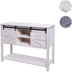 Kommode HWC-D57, Schiebetürenschrank Sideboard Schrank, Shabby-Look Vintage 81x102x34cm ' weiß