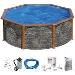 KONIFERA Rundpool Malaga II, (Set), 5-tlg., Höhe 120 cm, in versch. Größen grau Swimmingpools Pools Planschbecken Garten Balkon