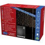 Konstsmide 3674-103 LED Eisregen Lichtervorhang mit weißen Globes / für Außen (IP44) / 24V Außentrafo / 200 warm weiße Dioden / transparentes Kabel