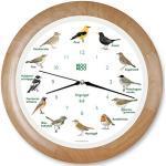 KOOKOO Singvögel Holz, Die Singende Vogeluhr, mit 12 heimischen Singvögeln und echten, natürlichen Vogelstimmen, mit RC Funkquarzwerk