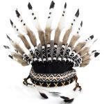 """Kopfschmuck Indianer """"Blackfoot"""", weiß/schwarz/braun"""
