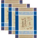 Kracht Halbleinen Geschirrtuch im 3er-Pack blau/braun-beige 50x70 cm