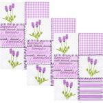 Kracht Halbleinen Geschirrtuch im 3er-Pack violett/weiss/gruen/violett 50x70 cm