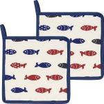 Kracht Topflappen Little Fish im 2er-Pack blau/rot/weiss 22x22 cm