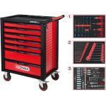 KS Tools RACINGline SCHWARZ/ROT Werkstattwagen mit 7 Schubladen und 215 Premium-Werkzeugen - 826.7215