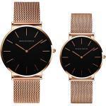 Kubagom Paar Uhren Analog Quarz Edelstahl Wasserdicht Mesh Ultradünne Set für Sie und Ihn (Schwarz Oberfläche,Rosegold Armband)