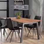 Küchentisch aus Akazie Massivholz 4-Fußgestell aus Stahl