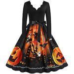 Kürbis Flapper Kleid Kleid Damen Erwachsene Festival Party / Abend Vintage Halloween Silvester Fest / Feiertage Terylen Schwarz / Orange / Blau / Rot Damen Ein Lightinthebox