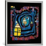 kunst für alle Bild mit Bilder-Rahmen: Friedensreich Hundertwasser Wasserende am Dach - dekorativer Kunstdruck, hochwertig gerahmt, 48x48 cm, Silber gebürstet
