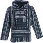 KUNST UND MAGIE Poncho »Kunst und Magie Nepal Baja Jerga Sweatshirt Poncho mit Fleecefutter Kapuze«, schwarz, Schwarz / Weiß