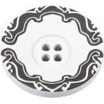 Kunststoffknopf mit weißer Vorderseite und schwarzem Ornament am Rand 15mm