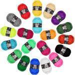 Kurelle Stickgarn Buntes Strick Garnknäuel Packung, Acryl Garn für Stricken, verschiedene Farben Wolle Set Baumwolle Perfekt für jedes Häkel und Strickprojekt - 20 Farbe 25g pro Farbe - 40 Meter
