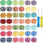 Kurtzy Häkelgarn (42 Stück) und 2 Häkelnadeln - Jeder 5 gramm, 43 meter, Größe 8 - Sortiert Farbe Baumwollgarn für Faden Nadelstickerei Muster, Häkel projekte