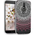 kwmobile Case kompatibel mit Motorola Moto G4 / Moto G4 Plus - Hülle Handy - Handyhülle - Indische Sonne Rosa Weiß Transparent