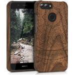 kwmobile Hülle kompatibel mit Huawei Nova 2 - Handy Schutzhülle aus Holz - Cover Case Handyhülle Indische Sonne Dunkelbraun