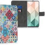 kwmobile Hülle kompatibel mit Samsung Galaxy A51 - Kunstleder Wallet Case mit Kartenfächern Stand Marokkanische Fliesen bunt Blau Rot Hellbraun