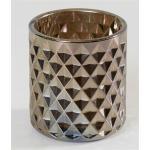 La Casa di Caesar Windlicht Glas metallic silber finish 8 x 9 cm (silber)