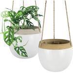 La Jolíe Muse hängende Blumentöpfe – 14cm weiß Innennutzung Hängetöpfe moderne Pflanzenkübel mit Juteseil für Sukkulenten, Kakteen, Kräuter, kleine Pflanzen, Inneneinrichtung Geschenk, 2er Set