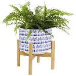 LA JOLIE MUSE Keramik-Blumentopf mit Holzständer – 18 cm moderner, runder dekorativer Blumentopf für den Innenbereich mit Holz-Pflanzgefäßhalter, blau und weiß, Heimdekoration Geschenk