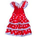 La Senorita Spanische Flamenco Kleid Niño Deluxe / Kostüm - für Mädchen / Kinder - Rot / Weiß (Größe 92-98 - Länge 65 cm- 3-4 Jahr)