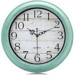 Lafocuse Rustikale Lautlos Grün Wanduhr Türkis Shabby Chic Vintage 30 cm Holzoptik Ohne Ticken Dekorativ Quarzuhr für Wohnzimmer Schlafzimmer Küchen