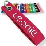 LALALO Schlüsselanhänger aus Filz mit Namen, Personalisiertes Schlüsselband Geschenkidee mit Aufschrift oder Wunschtext, Glücksbringer Filzanhänger mit Name, Geburtstag, Weihnachtsgeschenk (Pink)