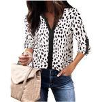 Langarmblusen Damen Herbst Tunika Oberteile Home Wear Henley V-Ausschnitt Manschettenärmel Kontrastfarbe Leopard Shirts für Jeans White Leopard, XX-Large