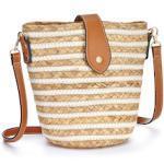 LASCANA Umhängetasche, Basttasche mit Streifen braun Damen Handtaschen Taschen Umhängetasche