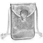 LASCANA Umhängetasche, Minibag, Handytasche zum Umhängen im coolen Metallic Look silberfarben Damen Handtaschen Taschen Umhängetasche