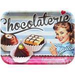 Lashuma Retro Melamintablett Motiv: Schokolade, Rechteckiges Küchentablett bunt, Serviertablett klein 31x23 cm