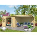 Lasita Gartenhaus Blockbohlenhaus Orlando Exklusiv 28 mm naturbelassen mit 3 m Anbau