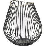 Laterne Schwarz Metall aus langen Streben mit Glaseinsatz Industrie Look Wohnaccessoires Dekoartikel Tischdekoration