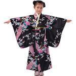 Lazzboy Japanisches Traditionelles Kostüm Kleinkind Kinder Baby Mädchen Outfits Kleidung Kimono Robe Blumen&pfau Mit Obi-gürtel Cosplay Japanisch (Schwarz, Höhe:140)