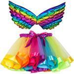 Lazzboy Kinder Mädchen Ballettröckchen Weihnachtsfeier Tanz Ballett Kleinkind Kostüm Rock + Flügel Sets Mesh Regenbogen Prinzessin Tutu Performance(Mehrfarbig,S)