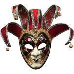 Lazzboy Maskerade Maske Harz Musik Karneval Wand Ostern Dekoration Geschenk Venezianische Gesichtsmaske Joker Fasching Maskenball(Rot)